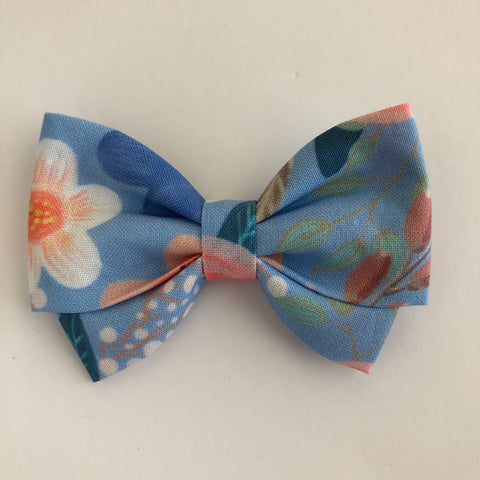 Baby Blue Floral Madi Cotton Bow