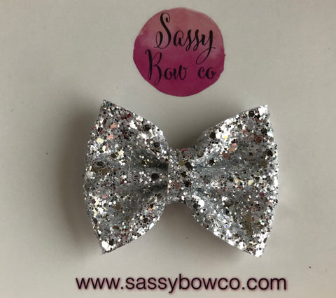 Crystal Silver small Glitter Bow