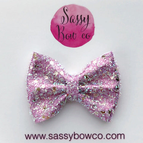 Small Pink Tinsel Glitter Bow