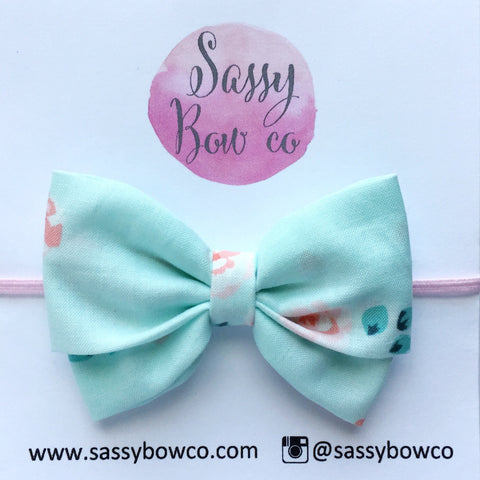 Mint Floral Madi Cotton Bow