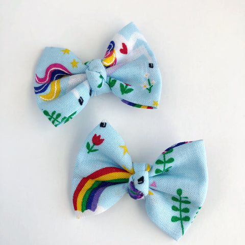 "Rainbow Unicorn 2"" pigtail set"