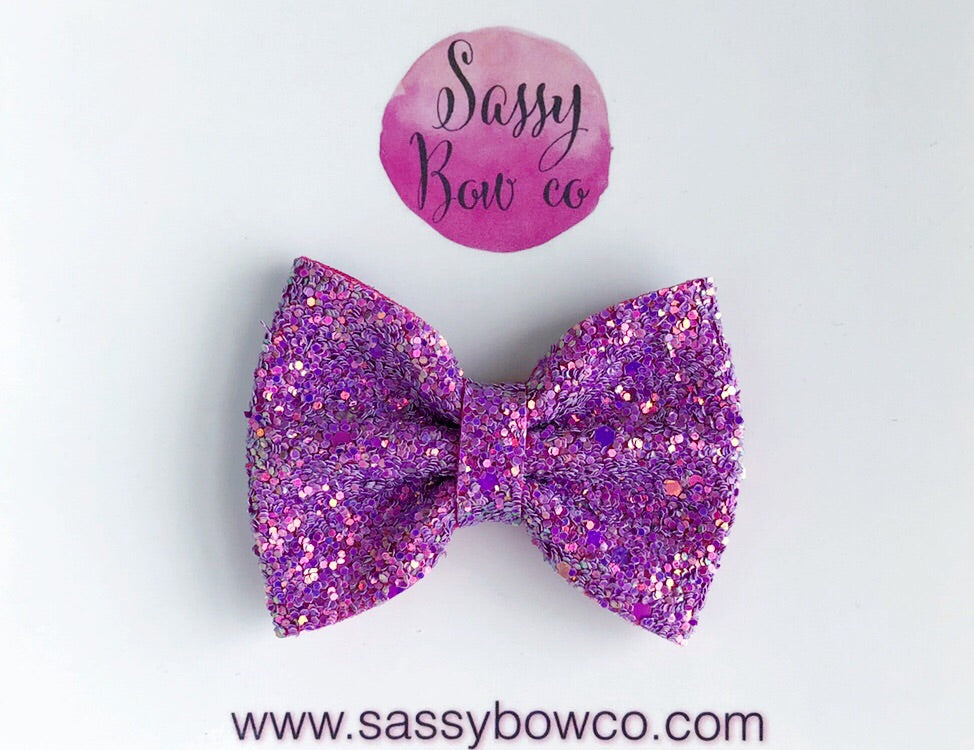 Small Raspberry Lemonade Glitter Bow