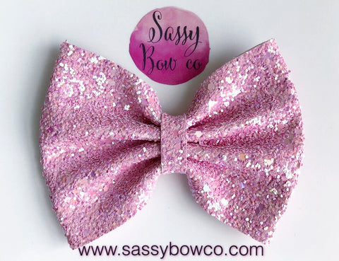 Large Pastel Pink Glitter Bow