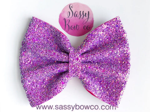 Large Raspberry Lemonade Glitter Bow