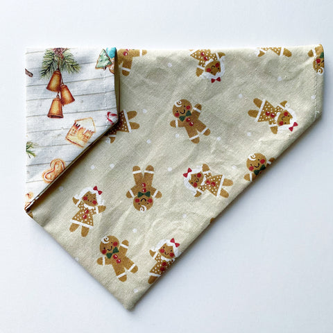 Gingerbread / Farm House Holiday Reversible Dog Bandana