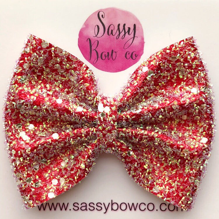 Large Red Tinsel Glitter Bow
