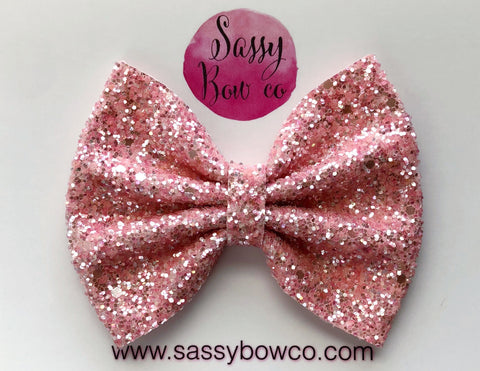 Large Apricot Glitter Bow