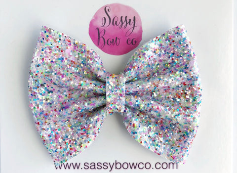 Unicorn Tail Large Glitter Bow