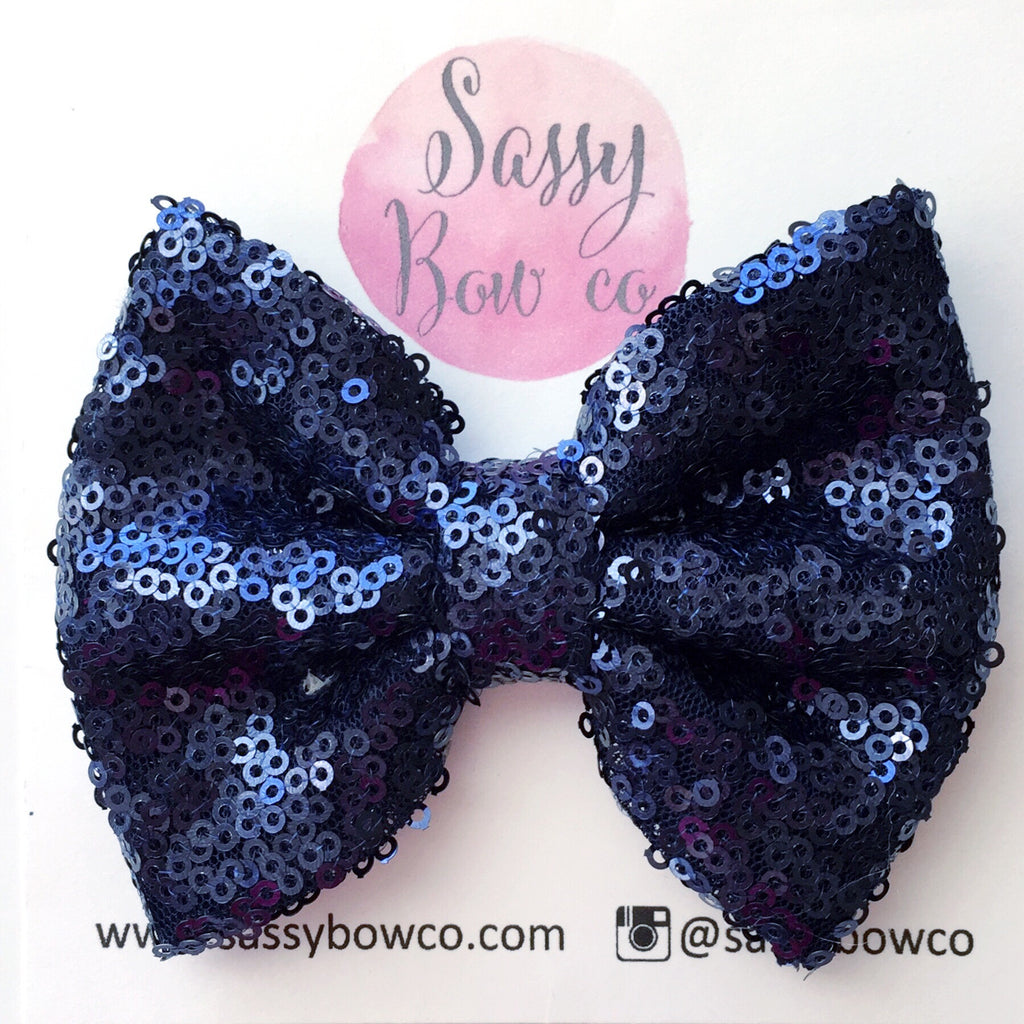 Navy Blue Sequin Bow