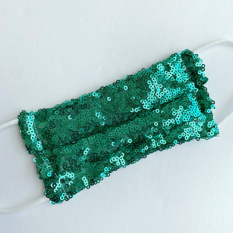 Green sparkle sequin face mask