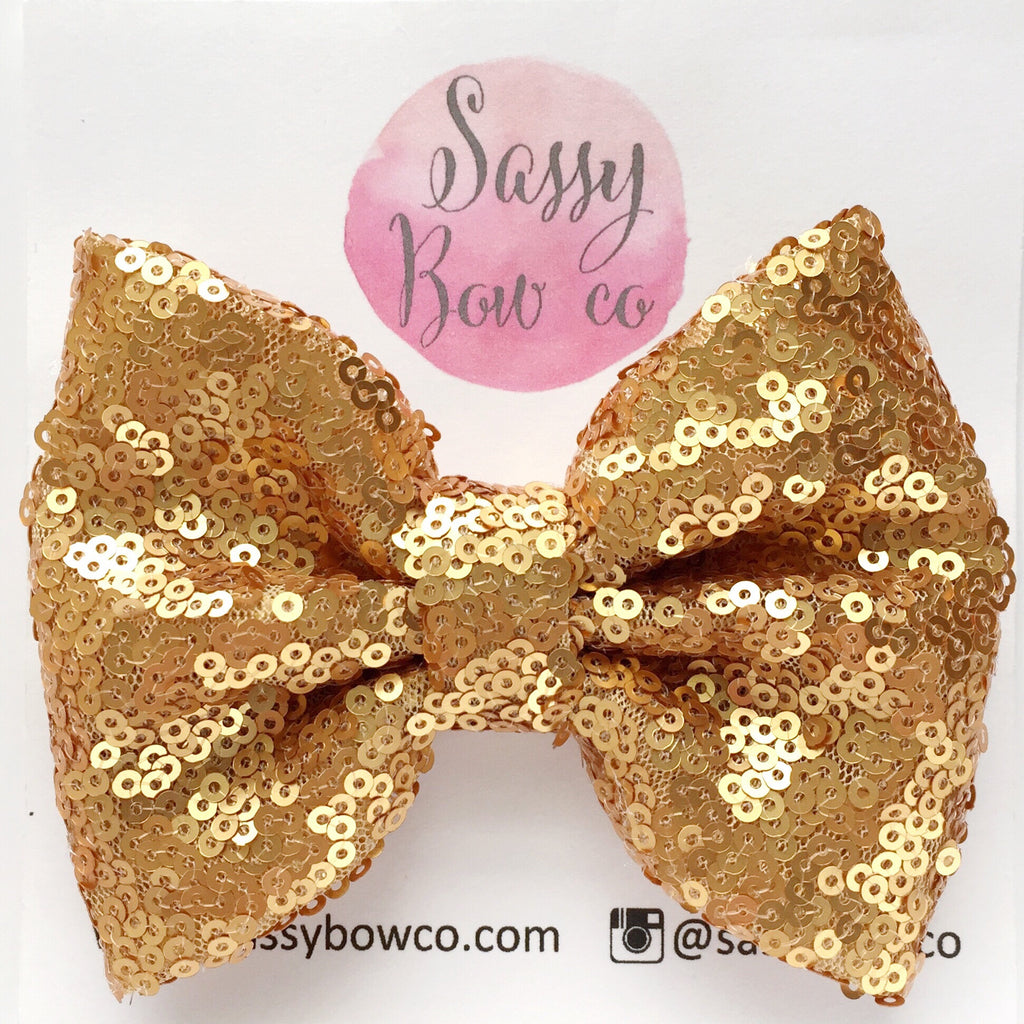 Gold Goddess Sequin Bow