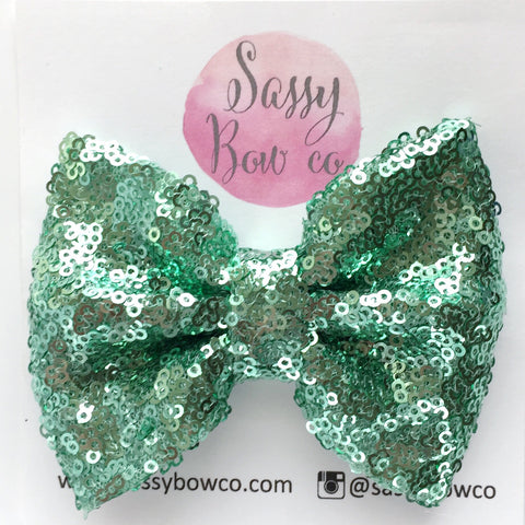 Mint Sequin Bow