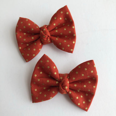 "Burnt Orange Gold Dot 2"" pigtail set"