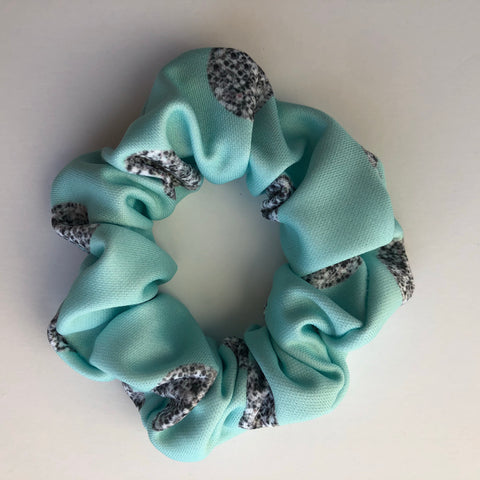 Silver & turquoise glam dot Scrunchie
