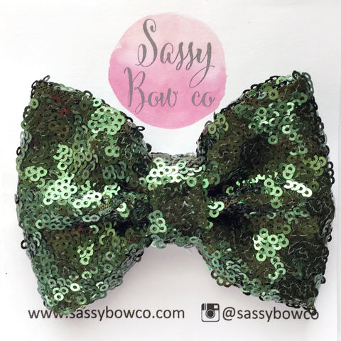 Olive Green Sequin Bow