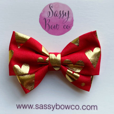 Gold Hearts Madi Cotton Bow