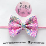 Small Flower Power Glitter Bow