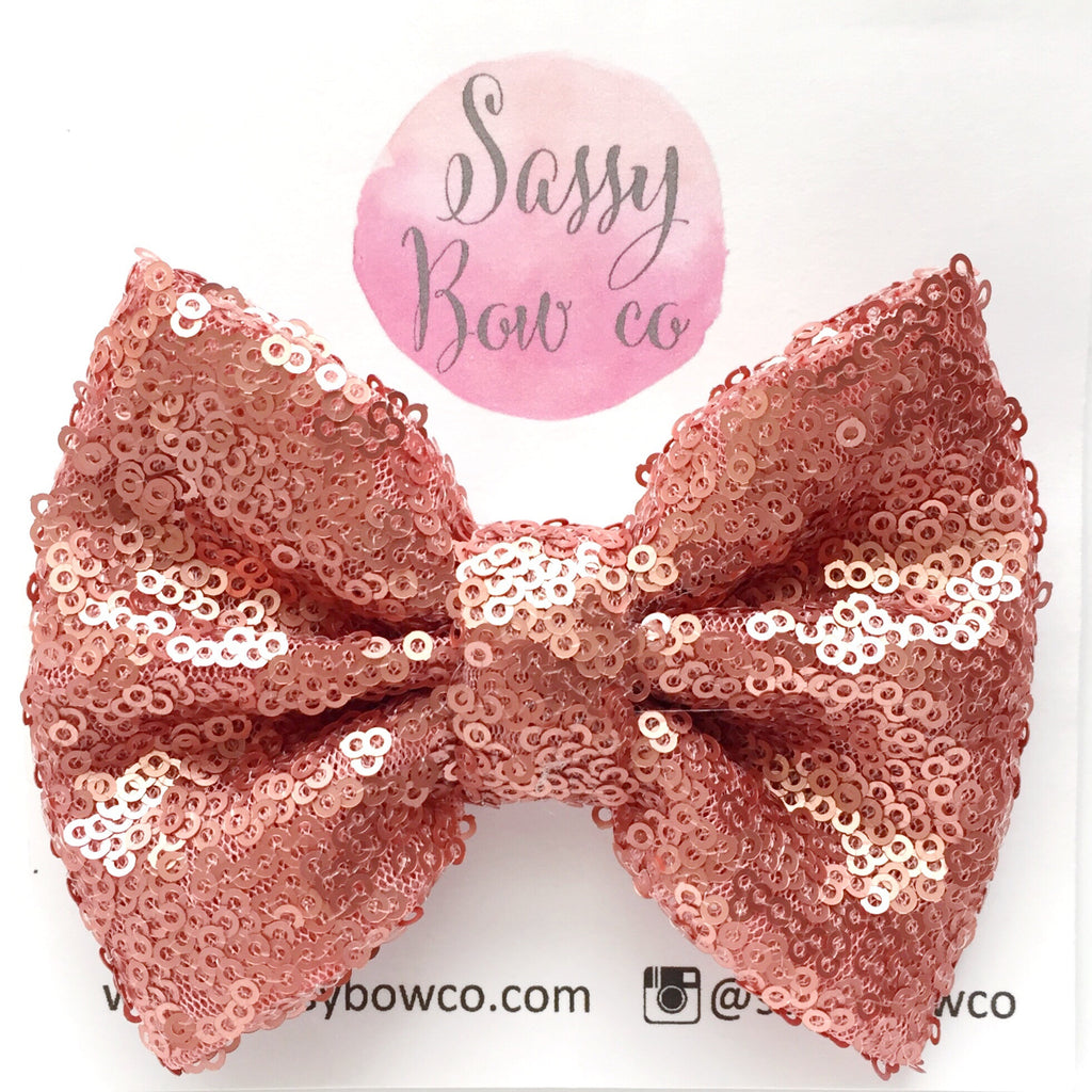 Coral Sequin Bow