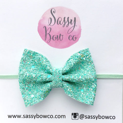 Small Tiffany Blue Glitter Bow