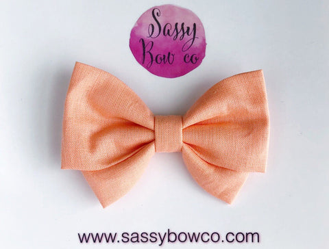 Peachy Coral Madi Cotton Bow