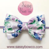 Purple Floral Madi Cotton Bow