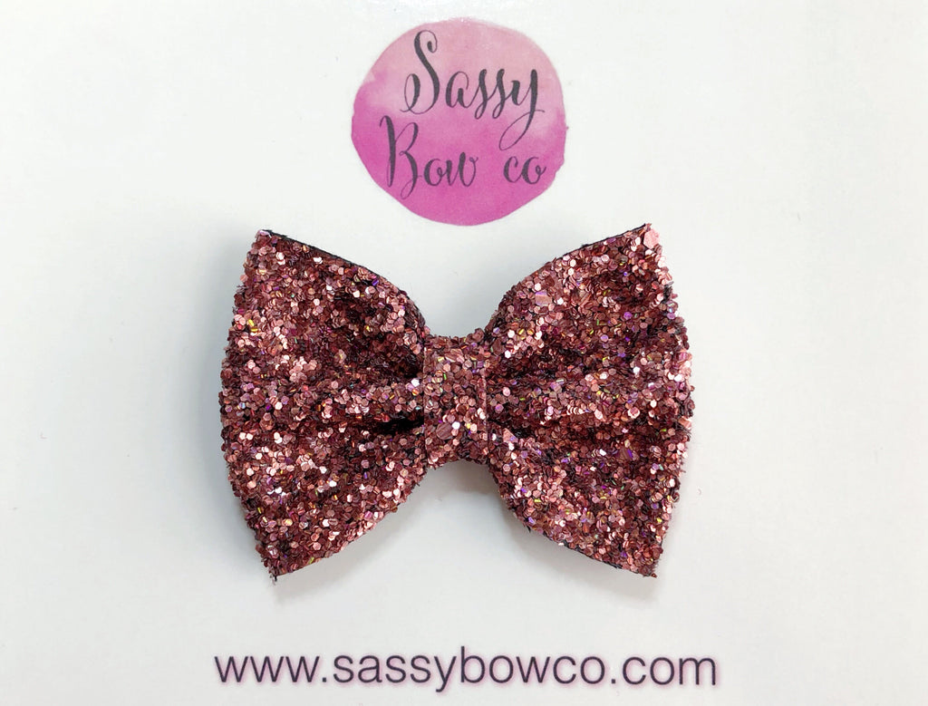 Bronze Rose Glitter Bow
