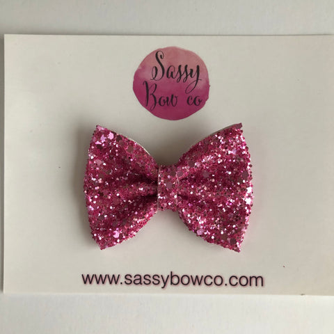 Bubblegum pink small Glitter Bow