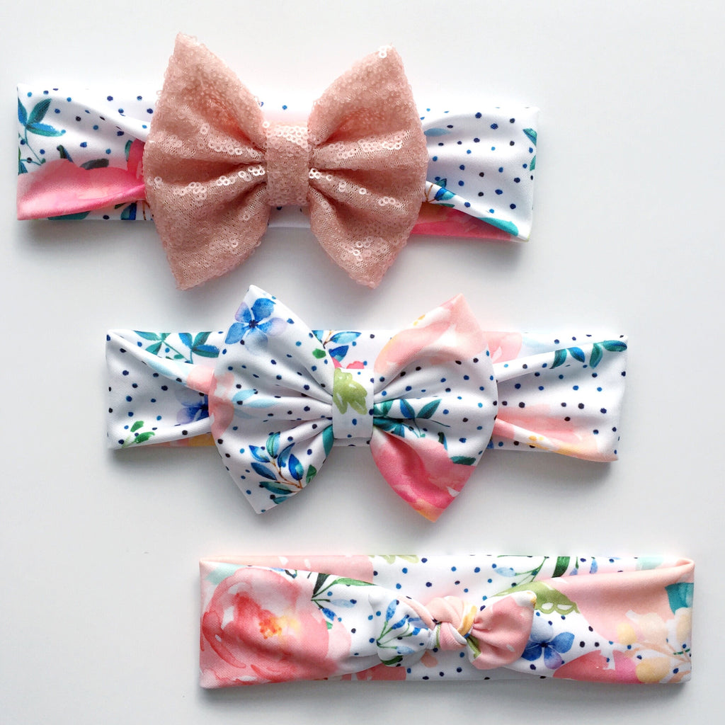 Ink Dot Floral Headbands