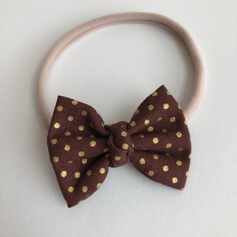 "Chocolate Gold Dot 2"" Chloe bow"