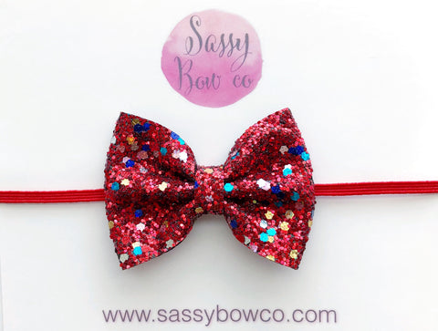 Small Firecracker Glitter Bow