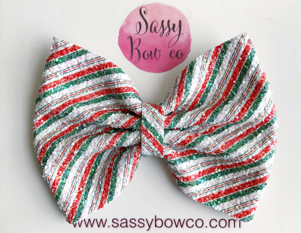 Christmas Stripe Large Glitter Bow