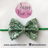 Small Spearmint Glitter Bow