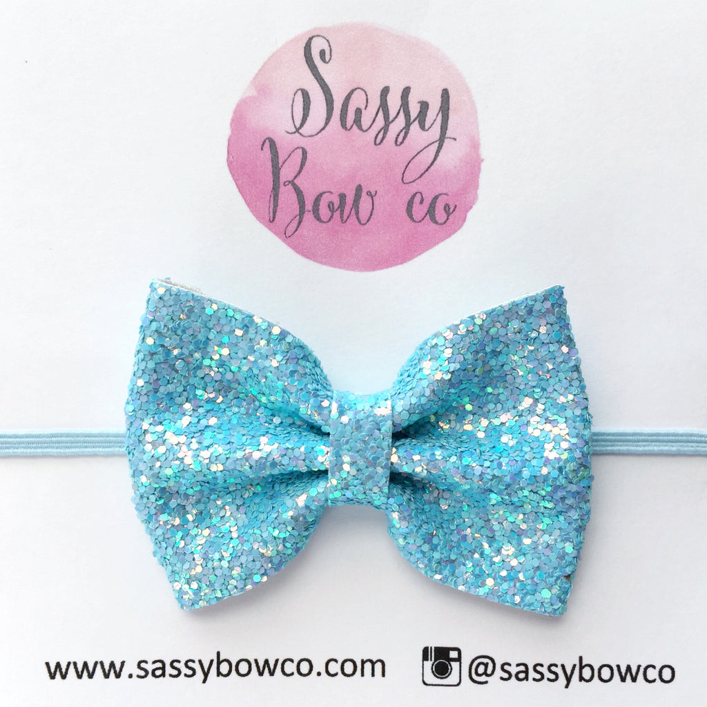 Small Baby Blue Glitter Bow