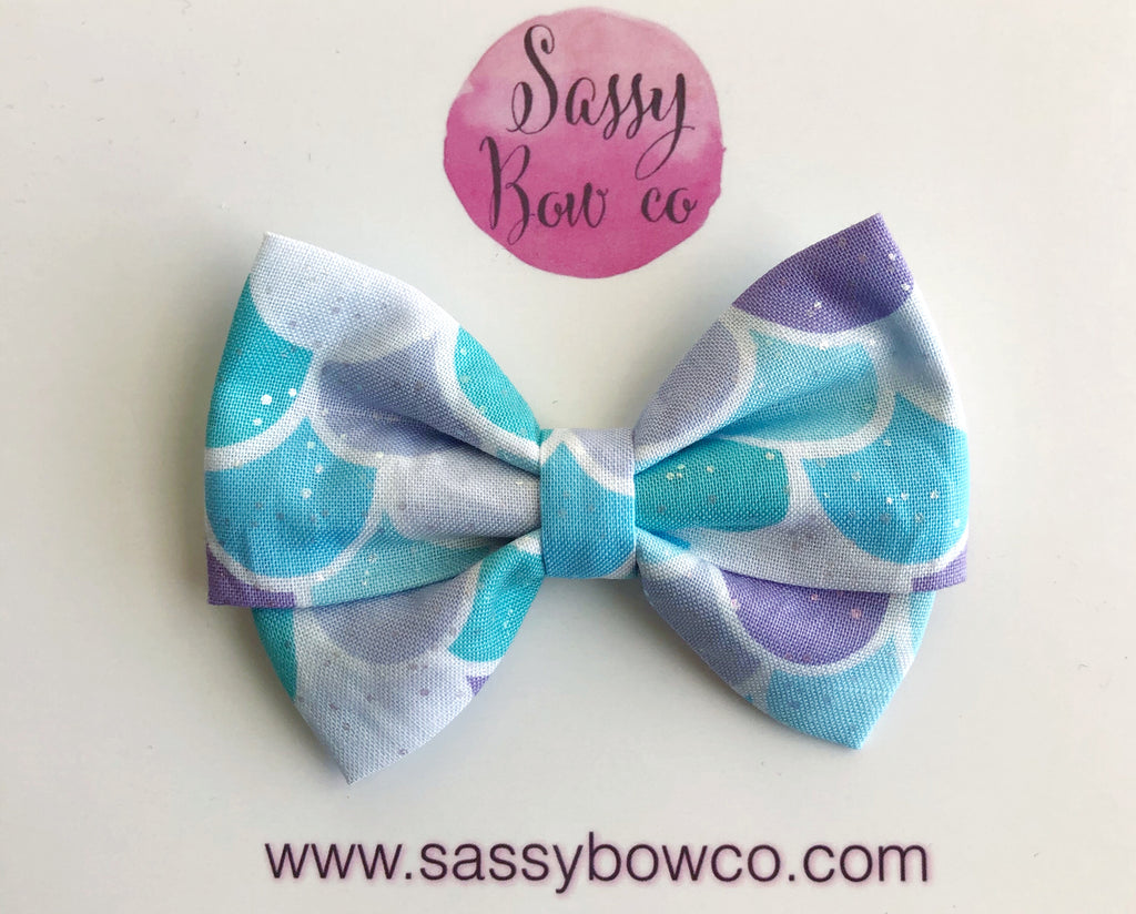 Shimmer Mermaid Scales Madi Cotton Bow