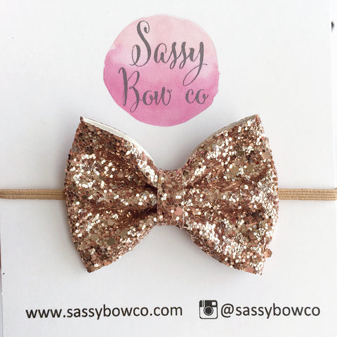 Small Champagne Glitter Bow