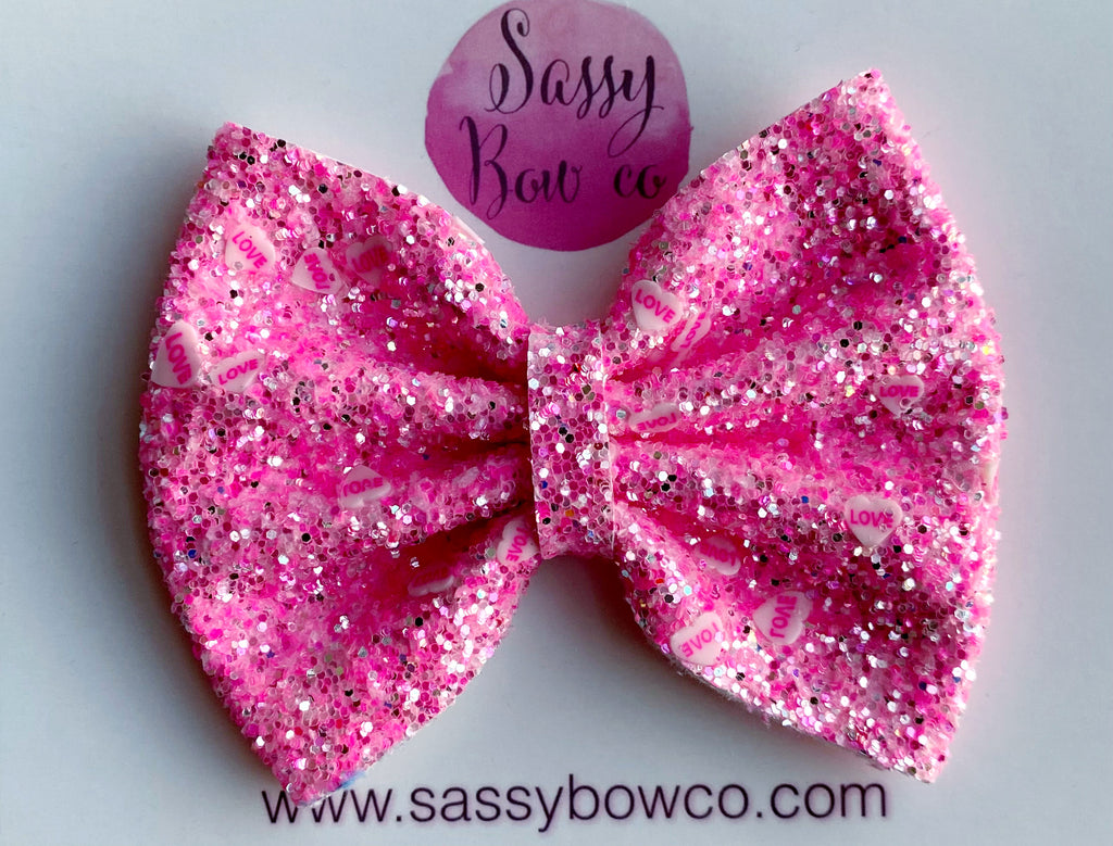 Pink LOVE Large Glitter Bow