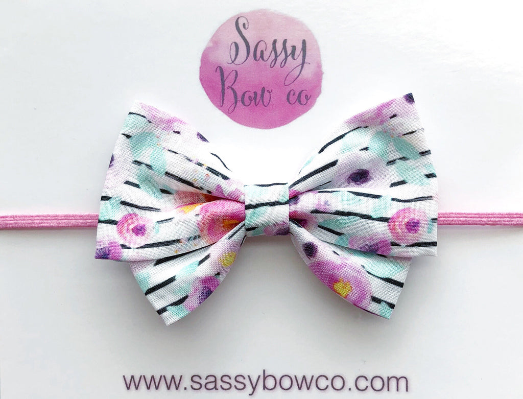 Floral Stripe Madi Cotton Bow