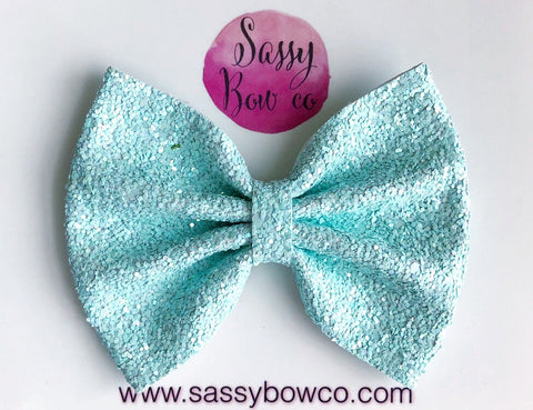 Large Mint Glitter Bow