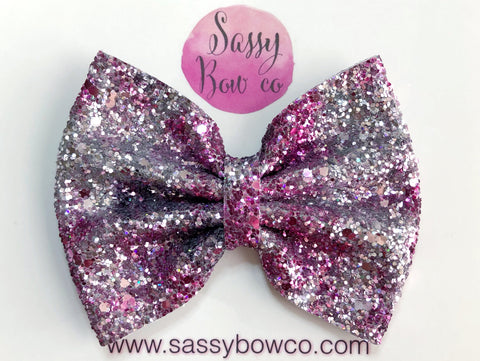 Large Princess Pink Glitter Bow