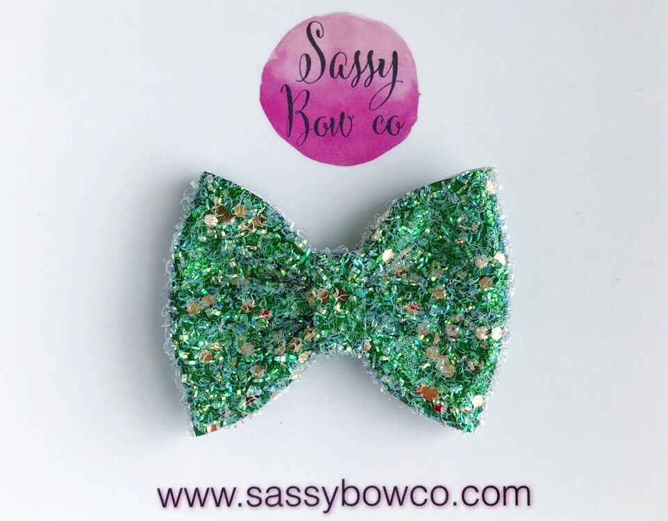 Small St. Patricks Day Glitter Bow