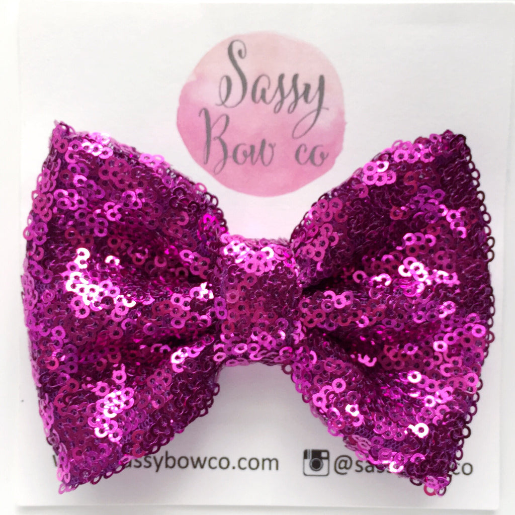 Magenta Sequin Bow