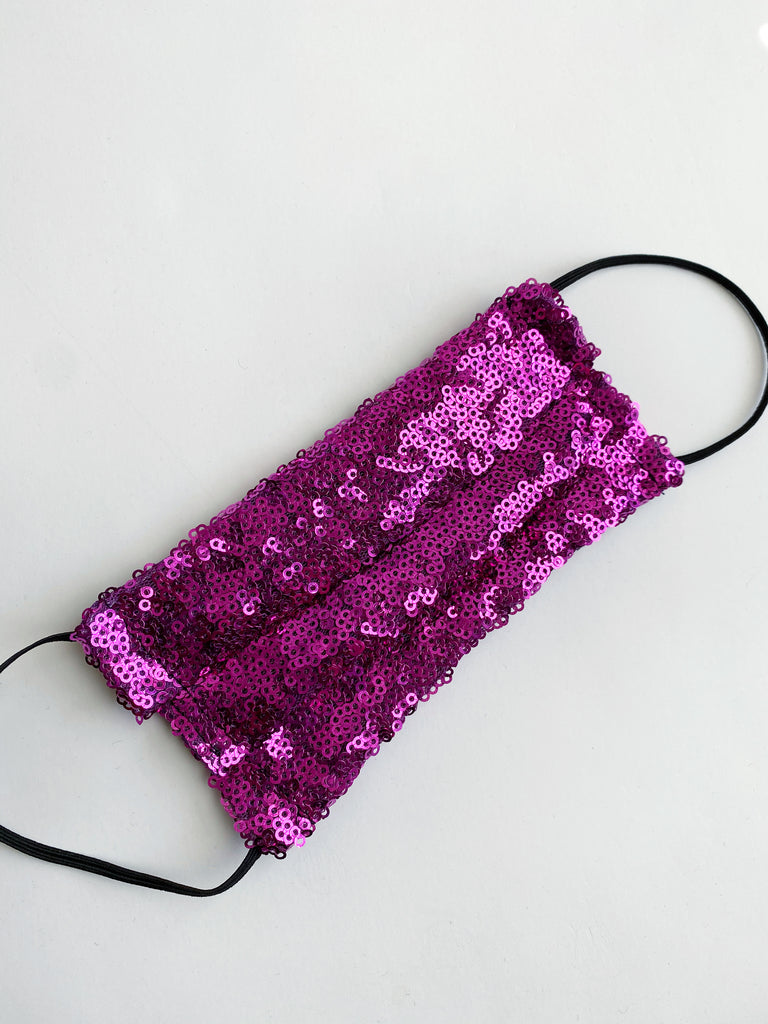 Fuchsia sparkle sequin face mask