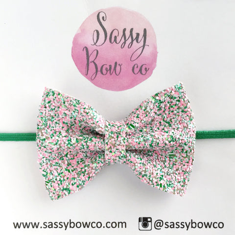 Small Watermelon Glitter Bow