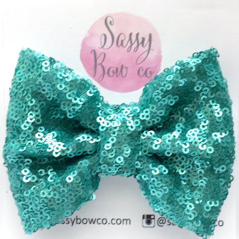 Turquoise Sequin Bow
