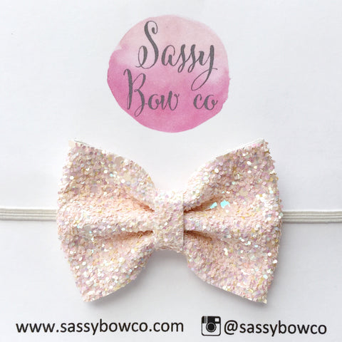 Small Ivory Glitter Bow