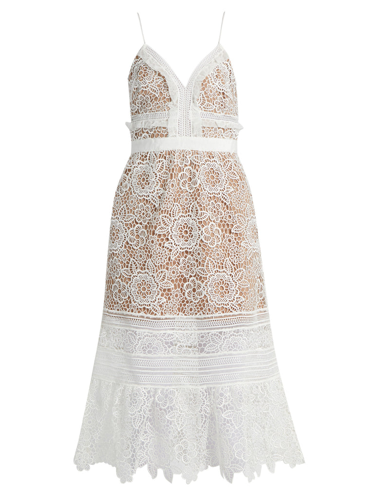 White Embroidered Lace Midi Dress for $1.98 at Posh Girl