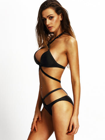 Black Cutout One-Piece Swimsuit for $0.58 at Posh Girl