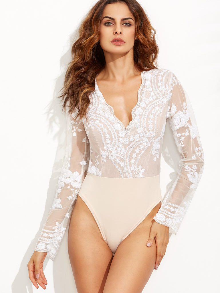 Lace And Sequins Long Sleeve Bodysuit for $0.88 at Posh Girl