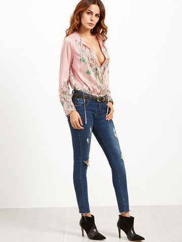 Pink Floral Long Sleeve Bodysuit for $0.78 at Posh Girl