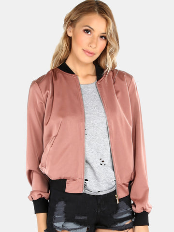 Antique Pink Satin And Lace Bomber Jacket for $1.18 at Posh Girl
